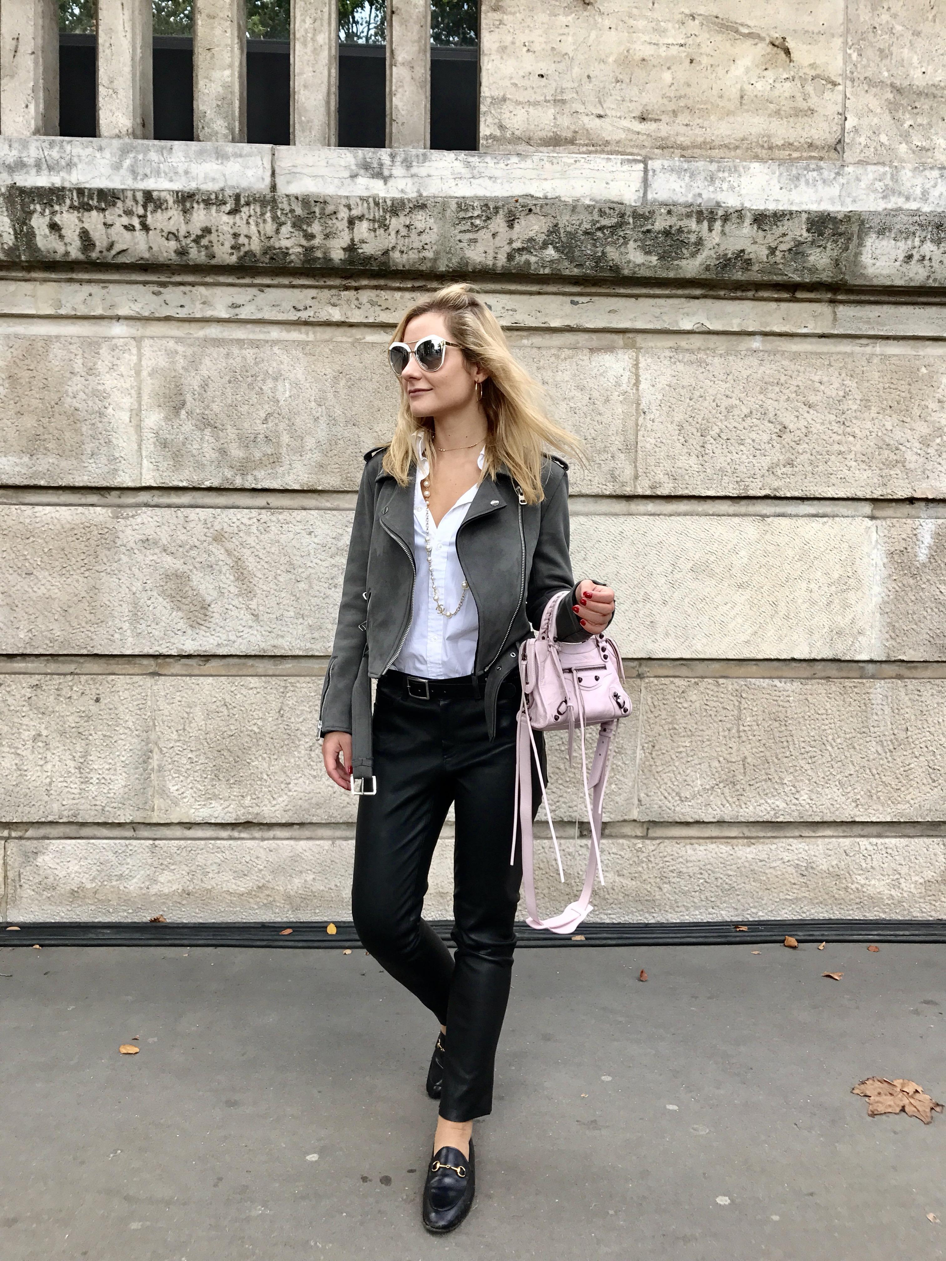 pantalon en cuir, look, camille et les garçons, blog mode